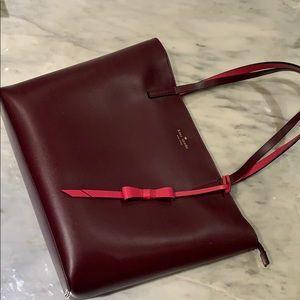 Kate Spade zip top tote, plum/maroon colour